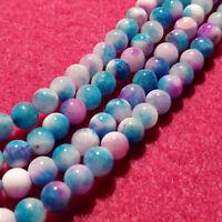 Strand 62+ 6mm Natural Deep Sky Blue Persian Jade Plain Round Beads UK