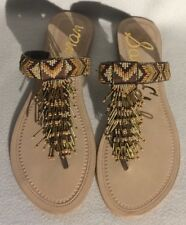 SAM EDELMAN SZ 8.5 US LEATHER ANELLA BEADED EMBELLISHMENT THONG SANDAL BROWN NEW