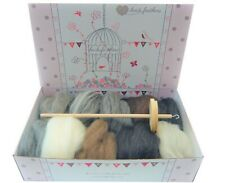 Heidifeathers® Drop Spindle Spinning Kit - Natural Wool Tops / Roving, Top whorl