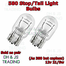 2 x 580 / 380W Stop Tail Light Bulbs Large Capless Car Auto Van Wedge 12v 21/5w
