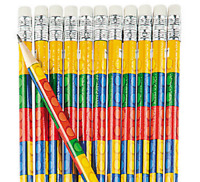 Pack of 12 - Brick Block Wooden Pencils with Erasers -  Bricks Party Bag Fillers