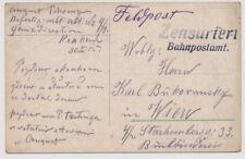 Österreich 1915 FELDPOSTKARTE, KRAKAU (Galizien) ZENSURIERT BAHNPOSTAMT.