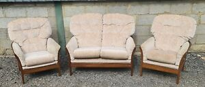 Cintique Sofa and Armchairs Vintange 3 Piece Suite Show Wood Frame