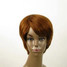 perruque AFRO femme 100% cheveux naturel châtain clair cuivré ref SHARONA 02/30