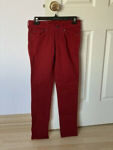 Pepe Jeans Pixie Merlot Red Stretch Skinny Regular Waist Slim Leg Jeans Size 27