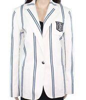 Lauren by Ralph Lauren Women's Jacket White Ivory Size 12 Striped $275 #253