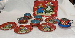 Ohio Art #150, Dutch Winter 14-pc Child's Tin Tea Set