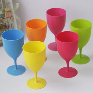 6Pcs/Set High Quality Plastic Wine Glass Goblet Cocktail Champagne Cups picni WD