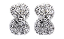 CLIP ON EARRINGS - silver knot stud earring with clear crystals - Vienna