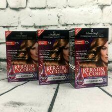 Lot of 3 Schwarzkopf Keratin Hair Color Cream Dye 7.5 Caramel Blonde Permanent