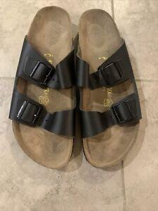 Birkenstock Womens ARIZONA Leather Open Toe Casual Slide, Black Size 46