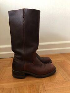Frye Riding Boots Leather Women's Campus #77046 Brown USA Vibram Soles Sz 7 M