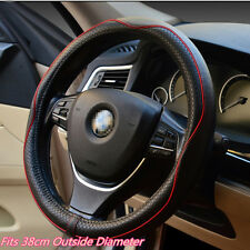Black&Red Genuine Leather Car Interior Steering Wheel Cover Breathable Anti-slip
