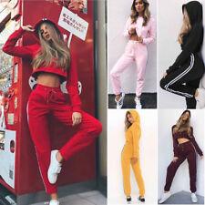 UK Womens 2 PCS Tracksuits Set Ladies Striped Cropped Hooded Loungewear Size6-14