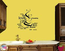 Wall Sticker Cup Of Coffee Cup Of Tea Love Romantic for Kitchen z1370