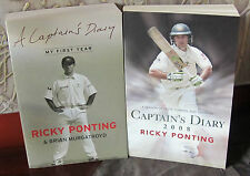 RICKY PONTING Captain's Diary MY FIRST YEAR and 2008   2 books P/B very good