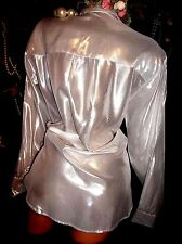 vtg SATIN RAYON LIQUID FOIL SILVER CAMELOT SLV TISSUE THIN WATER BUTTON BLOUSE