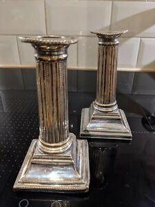 Pair 1790s candlesticks Georgian George III silver Sheffield plate N Smith & Co