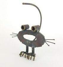 Brutalist Metal Cat Sculpture Abstract Statue Mid Century Iron Heavy Rustic Vtg