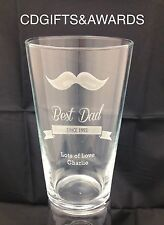FATHERS DAY Best Dad Personalised Laser Engraved Pint Glass Beer Lager Ale Gift