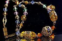 Art Deco Czech amber glass crystal necklace.