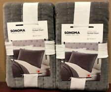 Sonoma 2pc STANDARD Pintuck COTTON VELVET Pillow Shams LUXURY Grey Gray NWT RARE