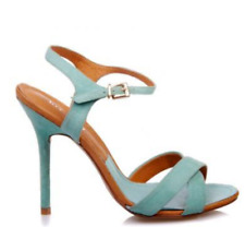 designer jo mercer aqua/turquoise genuine leather suede stilettos/heels 37 6.5