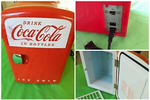 "MINI MANCAVE COCA-COLA Refrigerator Koolatron Hot Cold 11"" High 7"" Wide 10"" Deep"