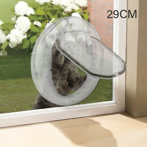 4 Way Round Clear Locking Flap Pet Door Cat Small Dog for Screen Glass UK