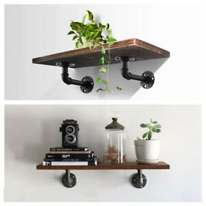 6 Packs Industrial Iron Pipe Shelf Brackets Wall Mount Holder for Wood Floating