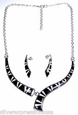 Black Jet & White Buffalo Stone Inlay 925 Sterling Silver Necklace Earrings Set