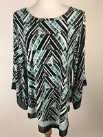 ALFANI Macy's Stretchy Knit Top w/Chiffon Cuffs & Point Hem - 2X, B/W Seafoam