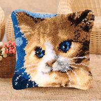 Lovely Cat Latch Hook Rug Kits Pillow Case Making for Kids Beginner 43x43cm