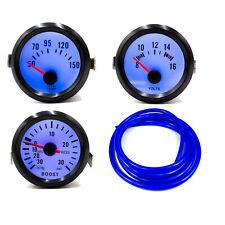 52mm 30Psi Boost + Oil Temp + Volt Gauge Black Bezel / Blue Light / Blue Hose