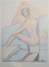 Original abstract nude portrait pastel drawing signed