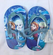 Disney Size 5/6 Princes Elsa Anna Frozen Toddler Girl Flip Flops Sandals Blue