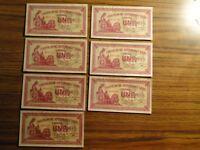 Siete correlativos de 1 peseta de Consejo Asturias y León