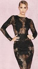 House Of Cb Black Lace Dress S (8-10) Sold Out Rrp £150, Free Delivery!
