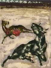Das vom STIER aufgeschlitztes PFERD - Walter SPITZER - OrigFarblithographie 1963