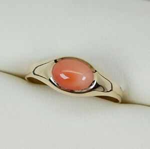 Coral Single Stone Ring In 9ct Yellow Gold Finger Size O