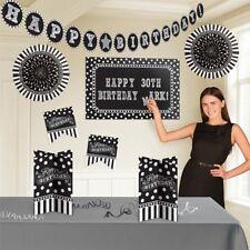 Schwarz-Weiß-Party Raum- und Tischdekoset, insg. 128-teilig,  Raum-Deko