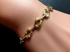 """* NUOVO * 7,5 """"onorevoli Pretty Fancy Slant Link Bracciale in oro 9 carati FULL UK Hallmark"""