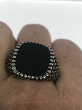 Vintage Black Onyx Mens Ring Stainless Steel Size 8