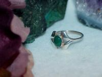 Chrysoprase FRED HARVEY ERA STERLING SILVER RING Sz 7.5 Vintage Deco Design