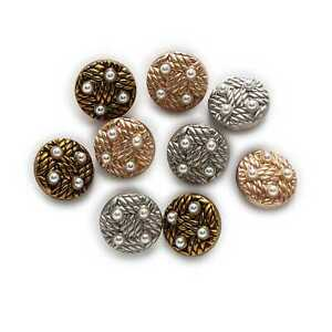 5pcs Pearl Retro Round Metal Buttons Clothing Sewing Crafts Accessories Decor