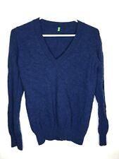 United Colors Of Benetton Mens Blue Vneck Lambswool Sweater Sz M EUC