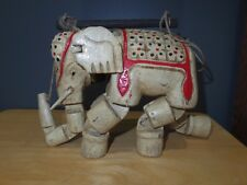 "Vintage Indian Wooden Hand-Carved Elephant Puppet Marionette 6 7/8"" Tall Used/GC"