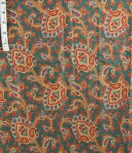1+ yd Red,Blue,Gold Holiday Paisley Print,Dark Green Cotton Fabric,Crafts,Masks