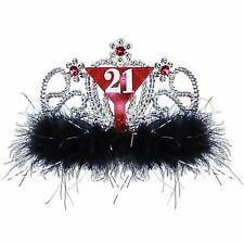"21st Birthday Supplies ""21"" Tiara with Black Feathers - CLEARANCE FLAT BATTERIES"