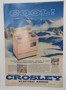 Original Print Ad 1956 CROSLEY Electric Range Pink Vintage Artwork